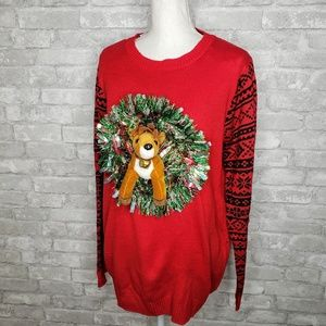 NoBo Reindeer in a Wreath Not So Ugly Sweater XXL